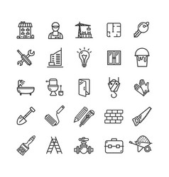 building construction elements and tools black vector image vector image