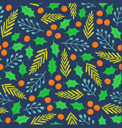 christmas plants seamless pattern vector image vector image