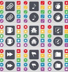 Clip note apple cup bug montor rewind flag folder vector
