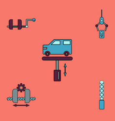 Collection of icons and car service vector