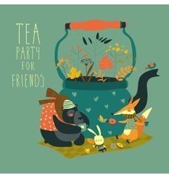 Cute animals friends sitting around teapot vector image vector image