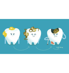 Decay tooth step by step vector image vector image