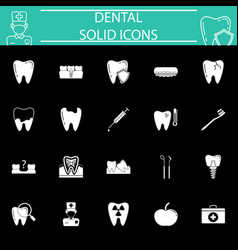 Dental solid icon set vector