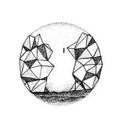 dotwork polygonal rock mountain vector image
