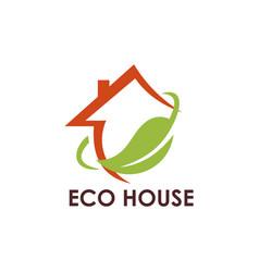 ecology leaf house logo vector image
