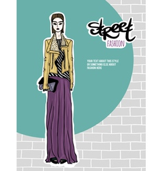 Girl street fashion look vector