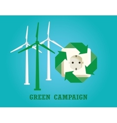 Green campaign with electricity plug and wind vector