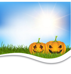 Halloween pumpkins in grass vector