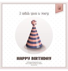 Happy birthday greeting card with festive stripy vector