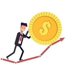 Happy businessman or manager pushes the coin up vector image