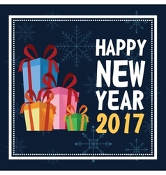 Happy new year 2017 greeting card with presents vector
