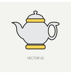 Line flat color kitchenware icons - teapot vector image vector image
