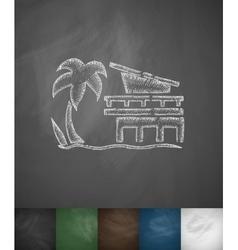 Miami beach icon hand drawn vector