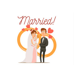 newly married couple composition vector image vector image