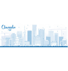 outline chengdu skyline with blue buildings vector image