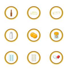 Pharmacy drug icons set cartoon style vector