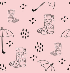 Rain cute seamless pattern with rubber boots and vector