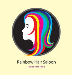 Rainbow saloon logo design vector