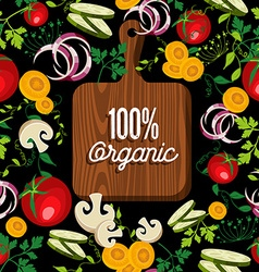 Raw vegetables food with 100 organic wood board vector