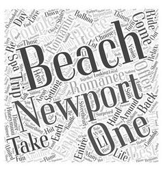 Romance in newport beach word cloud concept vector