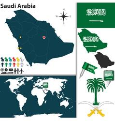 Saudi Arabia map world vector image vector image