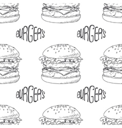 Seamless pattern with hand drawn burger vector image