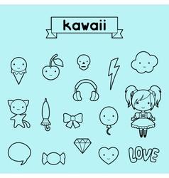 Set of decorative design elements kawaii doodles vector