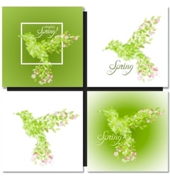 Set of spring green background with leaves vector