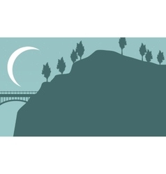 Silhouette of bridge with moon landscape vector image