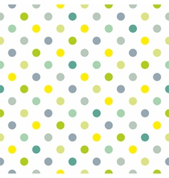 Spring green blue yellow polka dots background vector image vector image