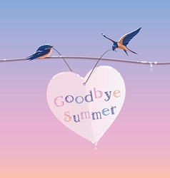 Summer ending concept with two cute swallow birds vector
