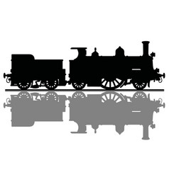 the black silhouette of an old steam locomotive vector image