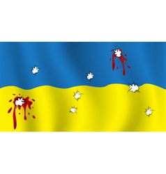 The ukrainian flag with bullet holes and blood vector