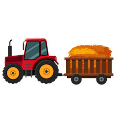 Tractor with hay in the cart vector