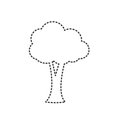 Tree sign black dashed icon vector