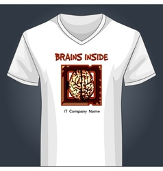 V neck shirt template with human brain inside main vector