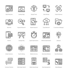 web and seo line icons 41 vector image vector image