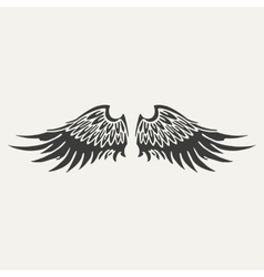 wings Black and white style vector image