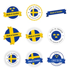 Set of Made in Sweden labels and ribbons vector image