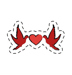 love card with heart and doves vector image