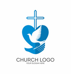 Cross and dove in hand vector