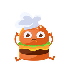 Funny burger with big eyes sitting wearing in a vector