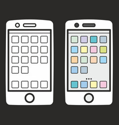 Smartphone icon set isolated on black vector