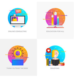 Flat designed concepts - online consulting vector