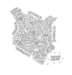 Cartoon map of kenya vector