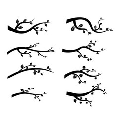 black tree branch silhouettes vector image