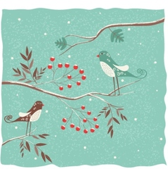 Two birds on the branch winter background vector