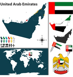United arab emirates map world vector