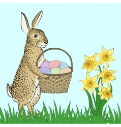 Rabbit and basket with eggs vector