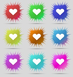 Heart love icon sign a set of nine original needle vector